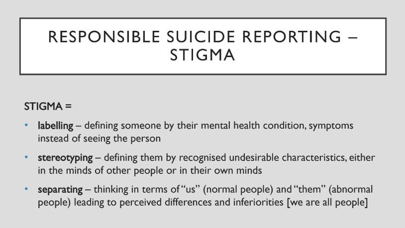 Suicide reporting stigma
